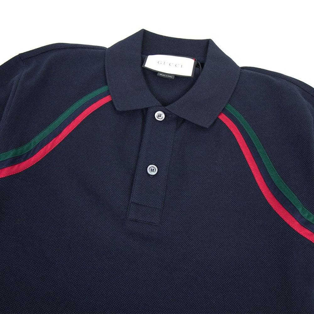 20feba9fe Gucci Polo Shirt With Web Navy Blue | ONU