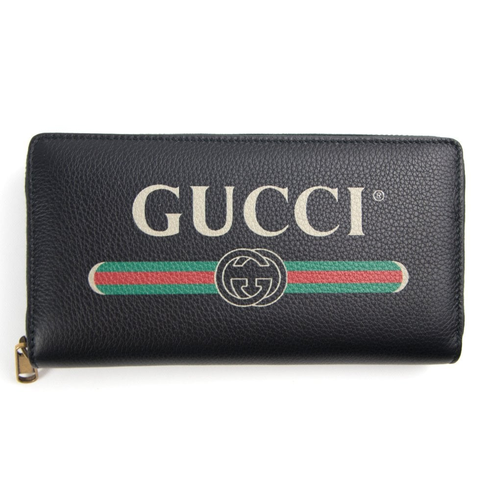 c3aa6b35a8b Gucci Print Zip Around Wallet Black