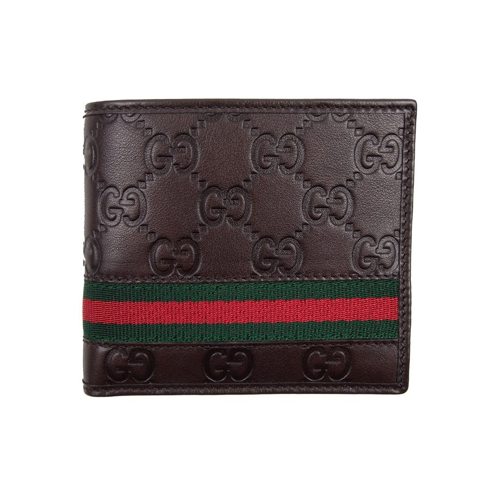38a81ece8402 Gucci Signature Stripe Wallet With Coin Pocket Brown | ONU