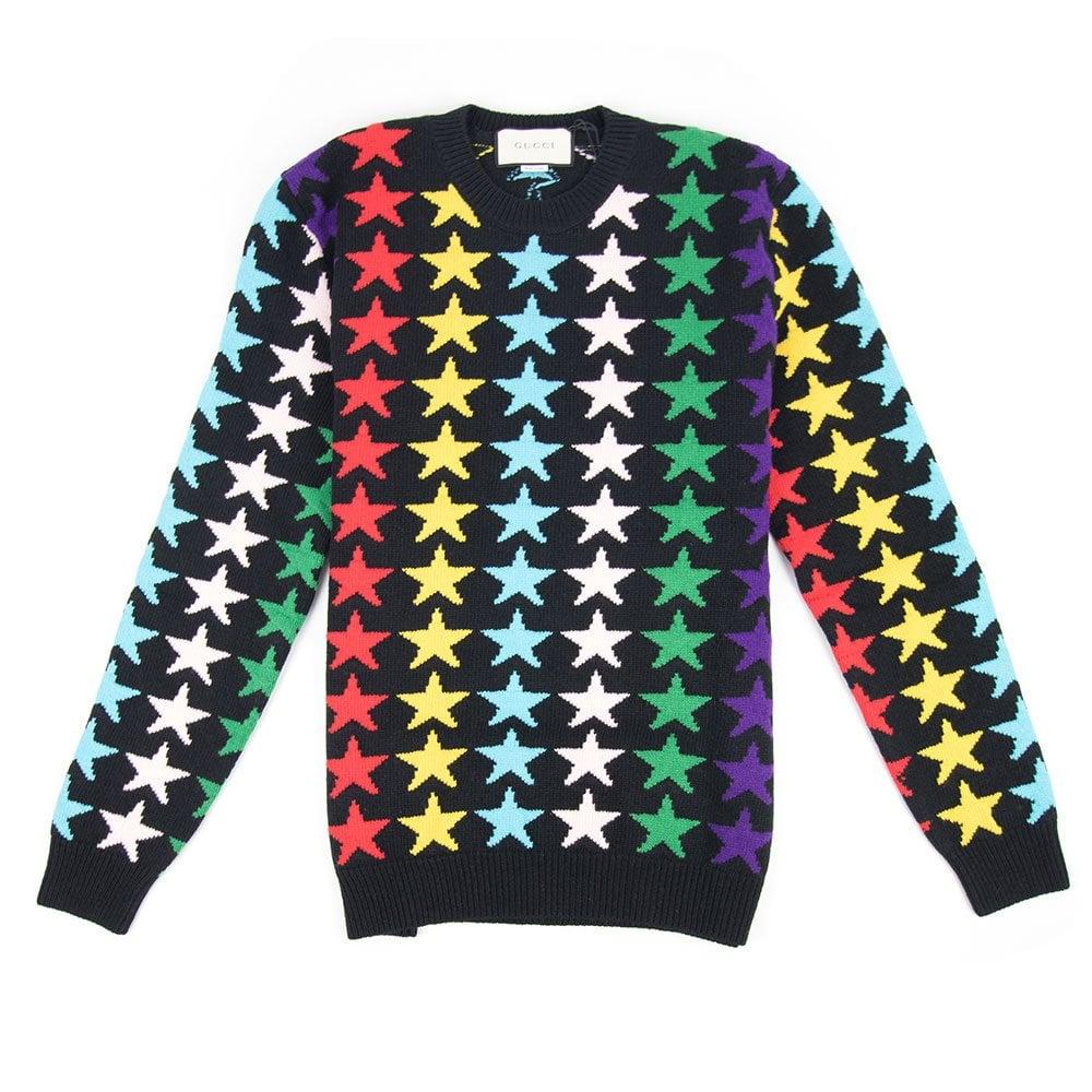 d57a2811cfa Gucci Star Intarsia Chunky Knitted Wool Jumper Black