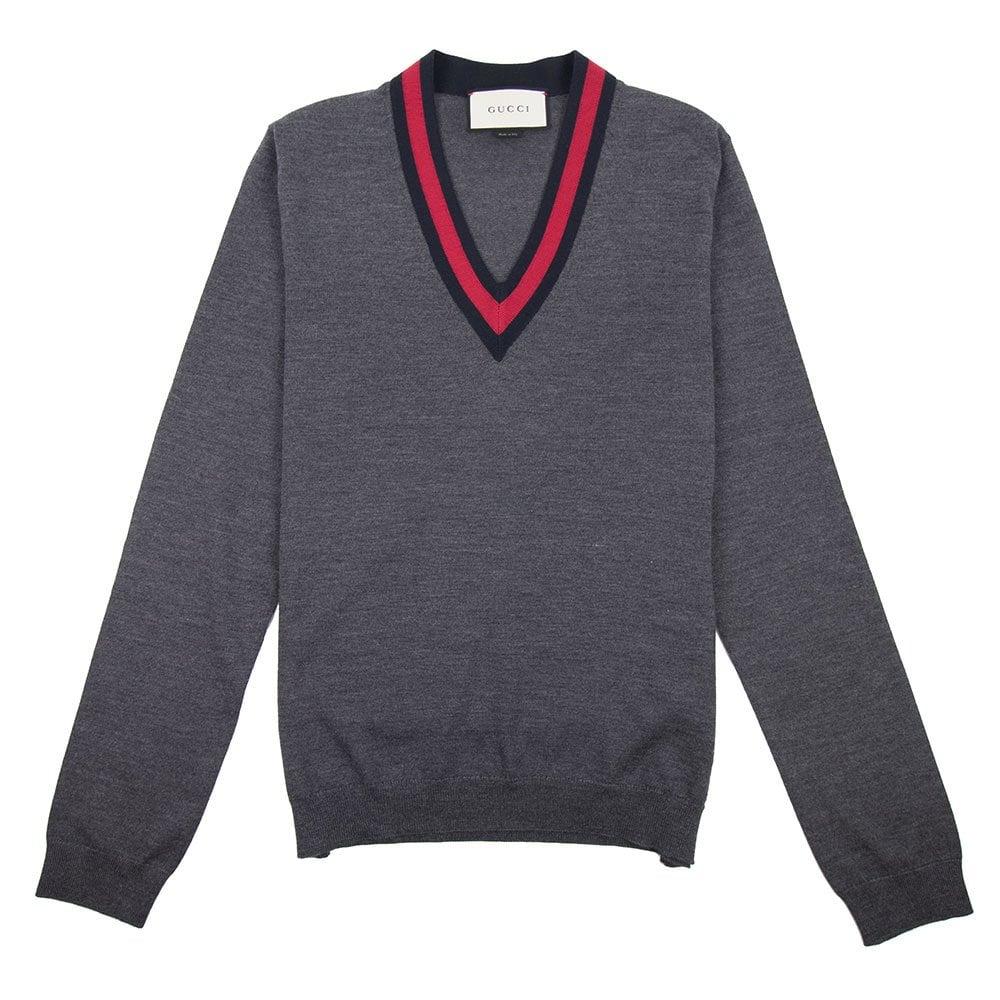1352416b Gucci Wool V-Neck Sweater Grey   ONU