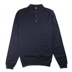 151849a5a Hugo Boss Banet-B Long Sleeve Knitted Polo Navy