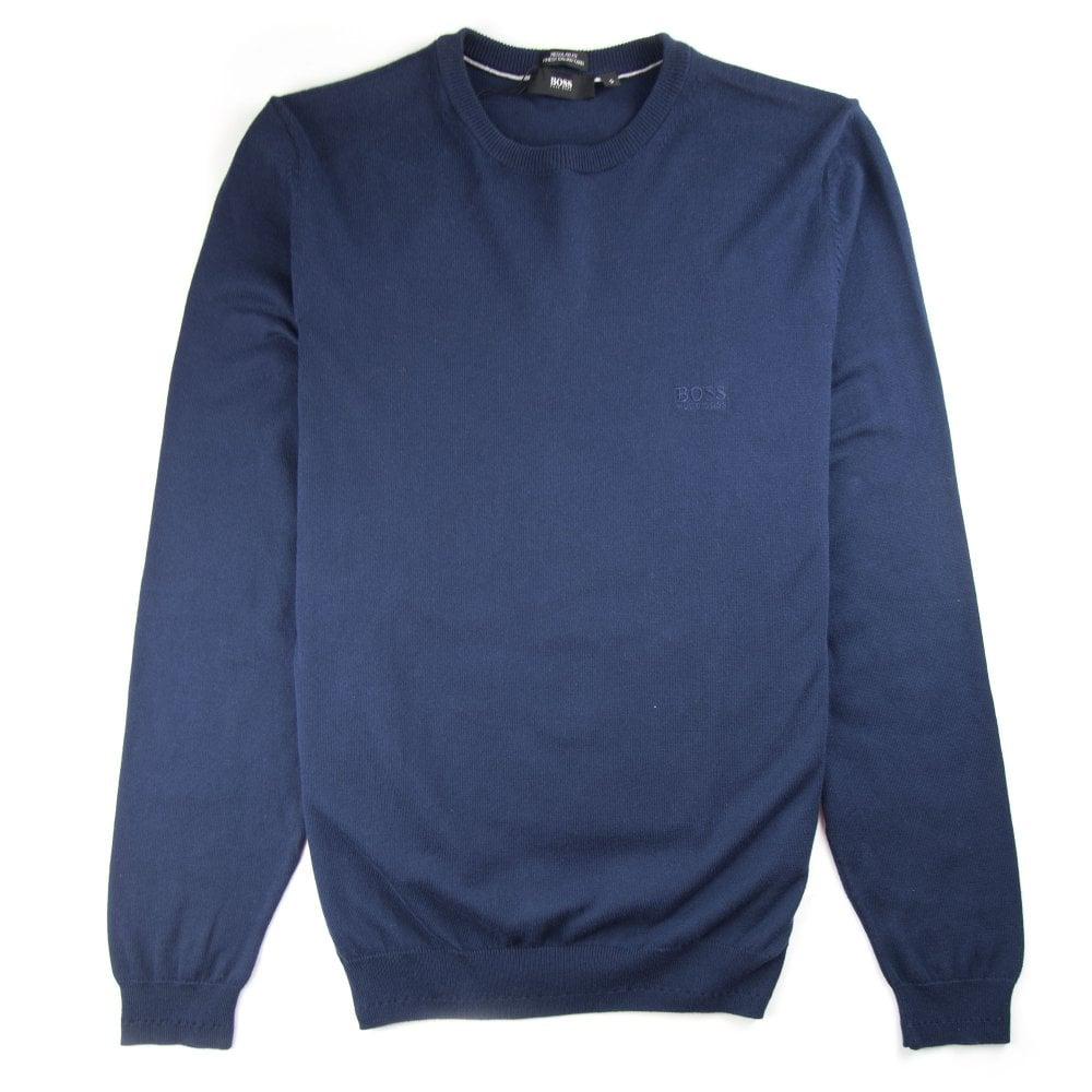f973fc9f Hugo Boss Bargritte-B Round Neck Knitted Jumper Blue | ONU