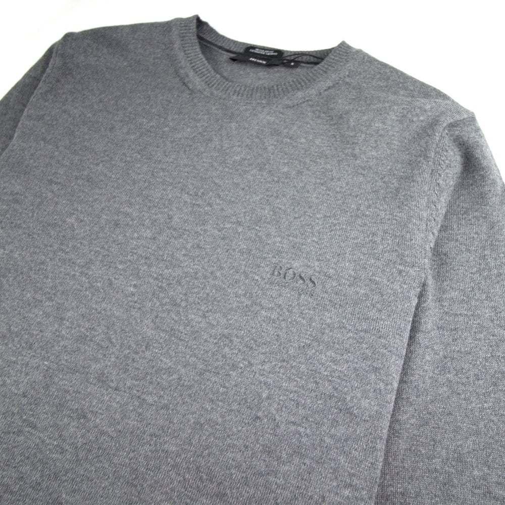 5f8e995f6777 Hugo Boss Bargritte-B Round Neck Knitted Jumper Grey
