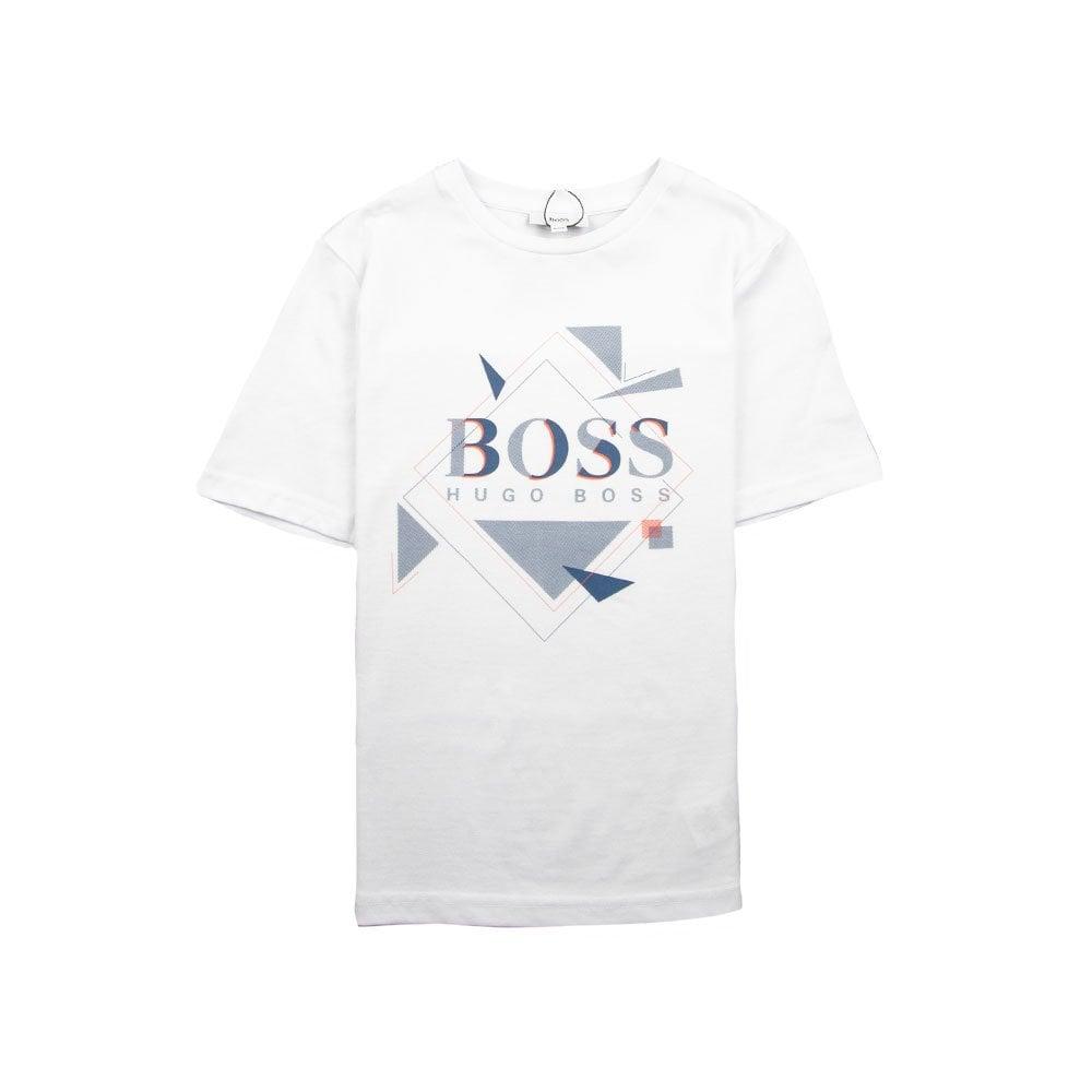b02a43b6 Hugo Boss Kids Geometric Logo T-Shirt White | ONU