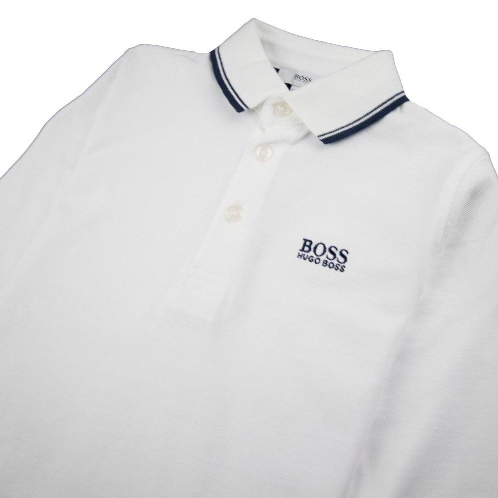 74c87c3b Hugo Boss Kids Tipped Long Sleeve Polo White | ONU