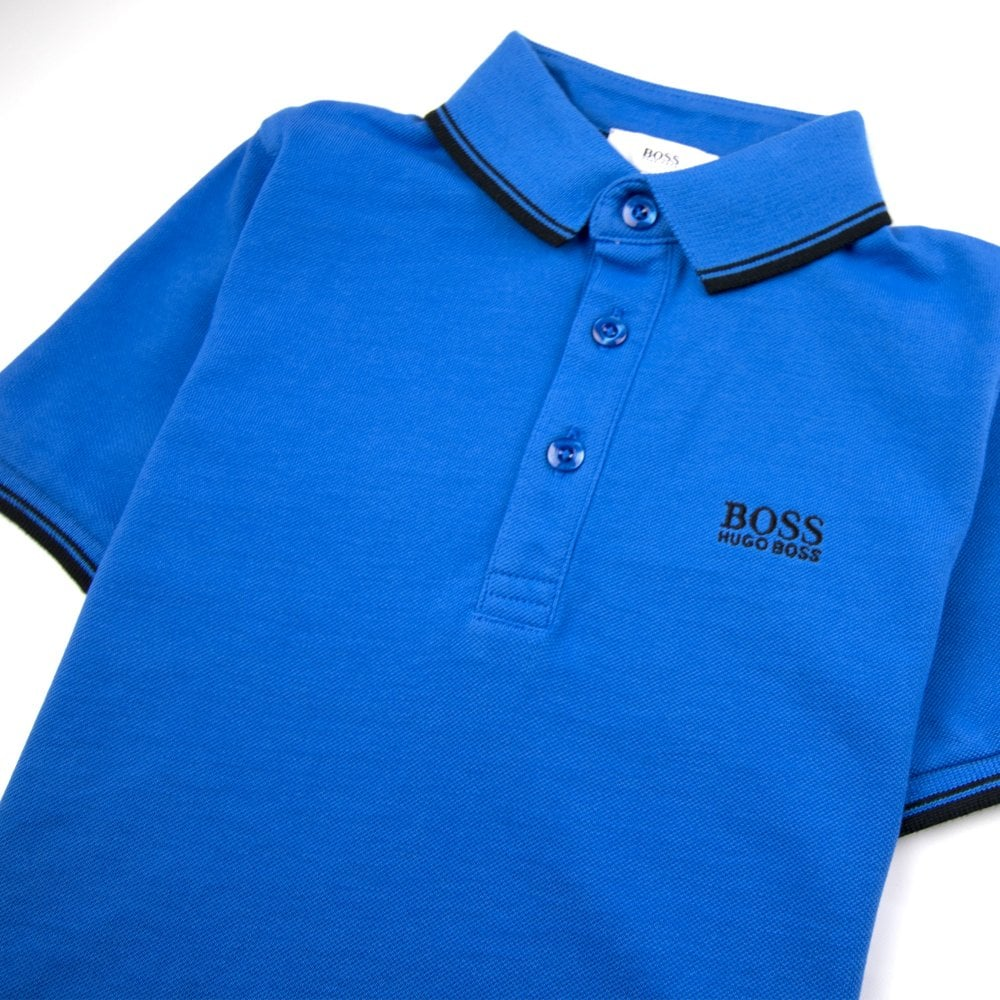 Hugo Boss Kids Tipped Short Sleeve Polo Electric Blue