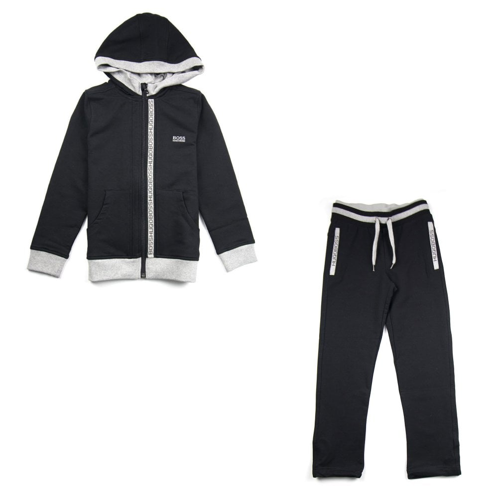 Hugo Boss Kids Zip Logo Tracksuit Black - Junior from Onu UK a6d839699