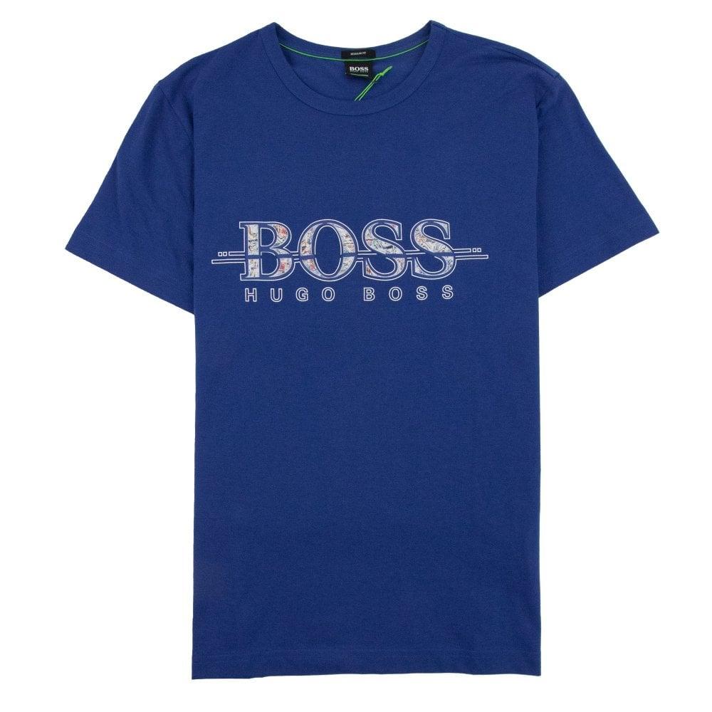 ab36df14b Hugo Boss Large Multi Colour Logo 7 T-shirt Blue | ONU