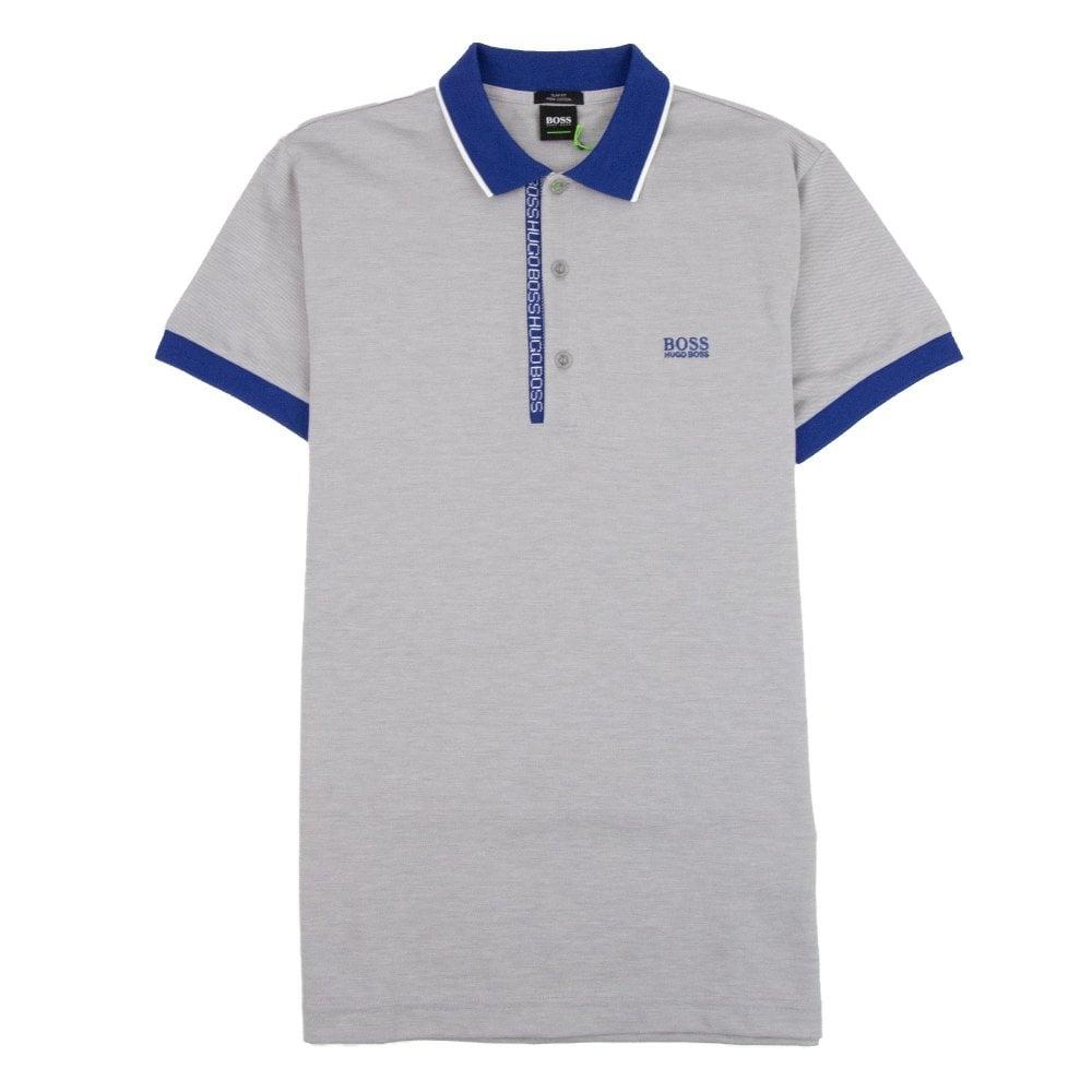 c7bf1fe9d Hugo Boss Paule 4 Short Sleeve Polo Shirt Grey Blue