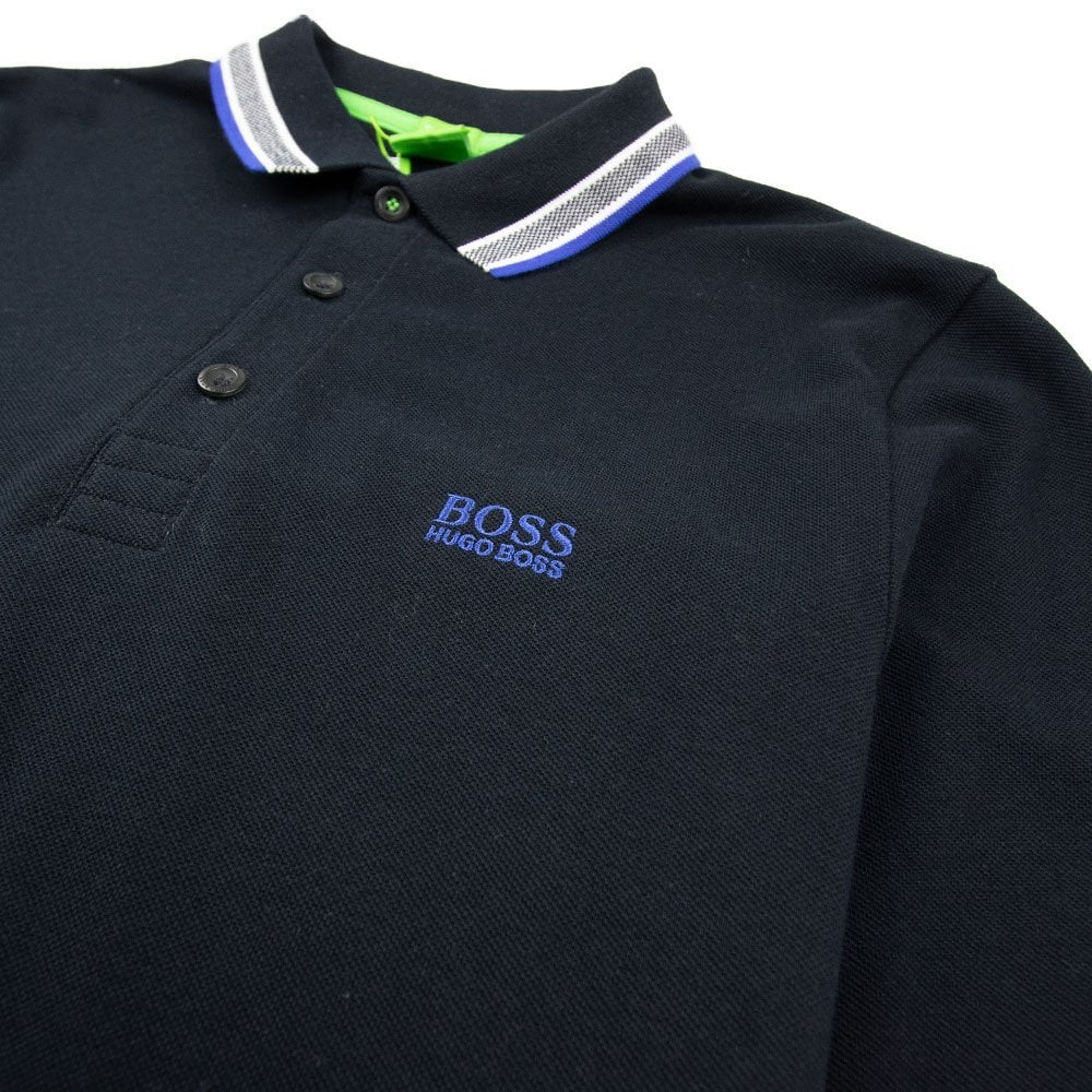 7ab8e353fee Hugo Boss Plisy 1 Long Sleeve Polo Black/Blue | ONU