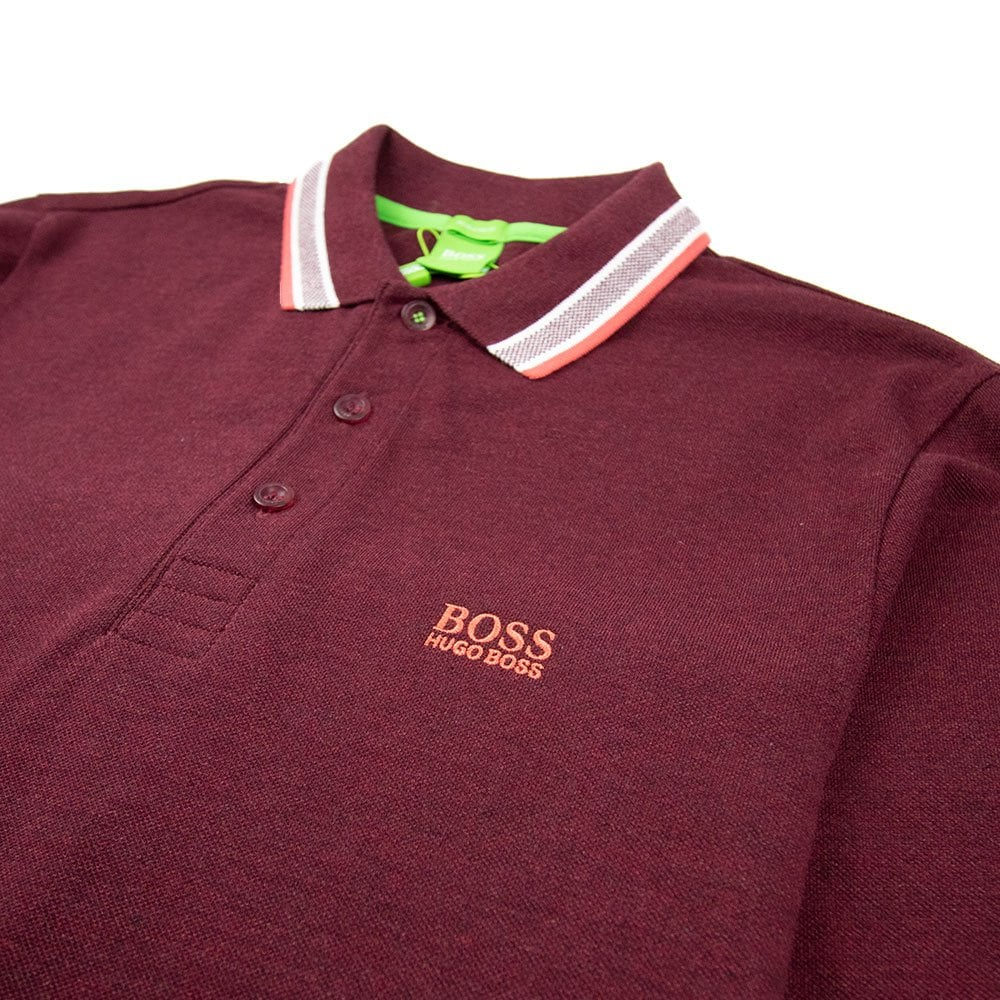 5fff909adeb Hugo Boss Plisy 1 Long Sleeve Polo Burgundy | ONU