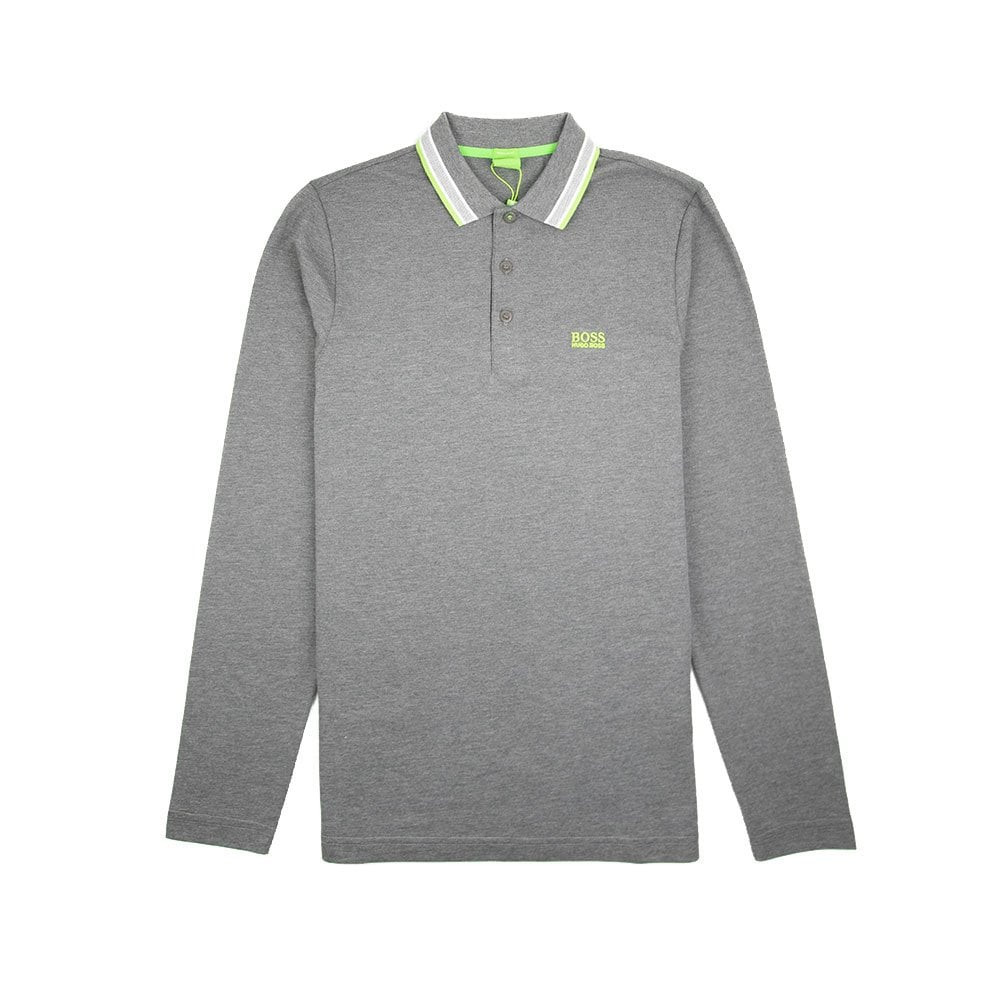 3ae909063 Hugo Boss Plisy 1 Long Sleeve Polo Dark Grey/Green | ONU