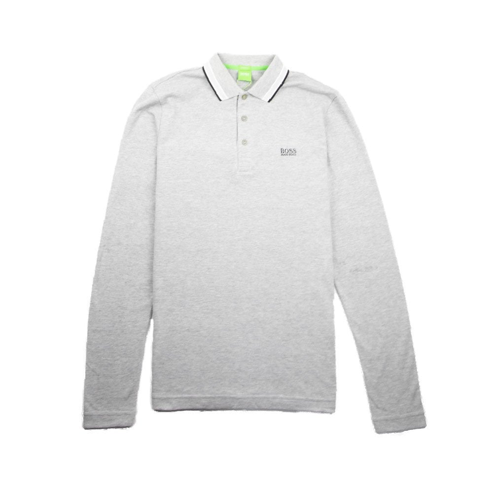 180cac36339 Hugo Boss Plisy 1 Long Sleeve Polo Grey/Black | ONU