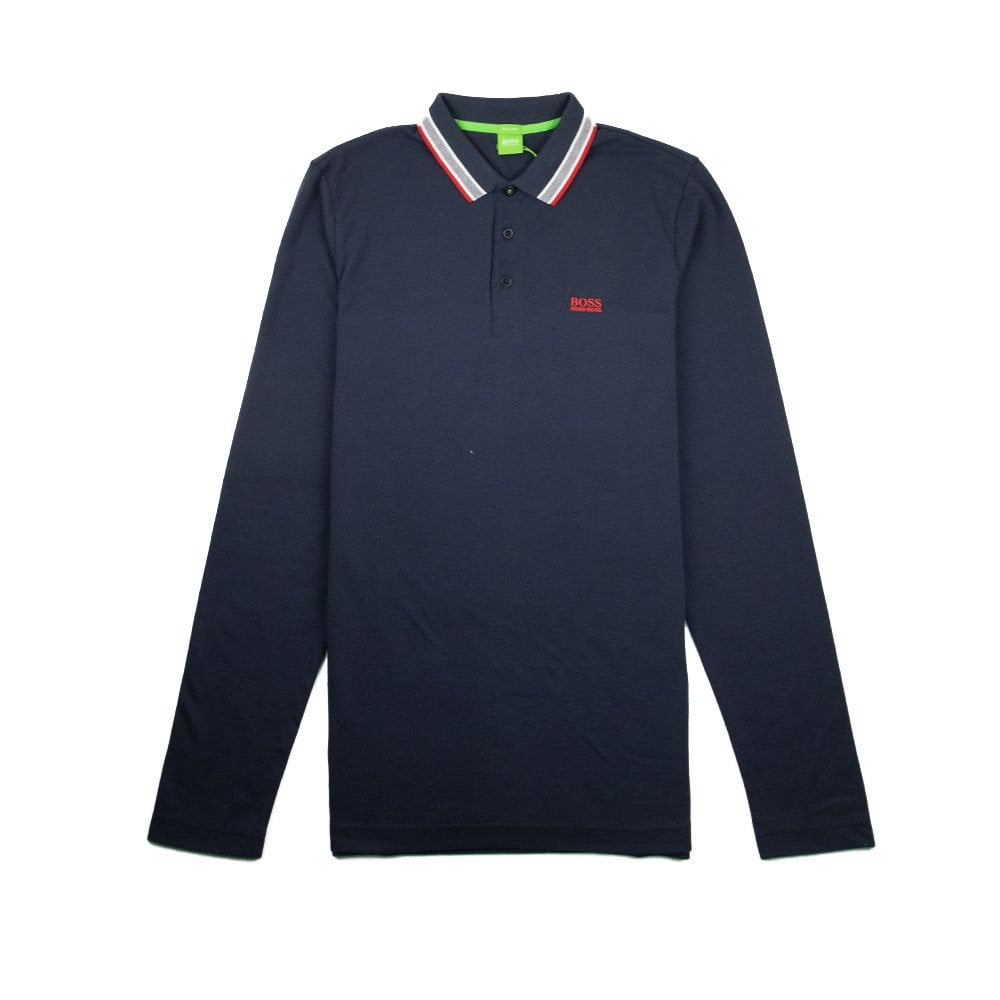 3984624500a Hugo Boss Plisy 1 Long Sleeve Polo Navy/Red | ONU