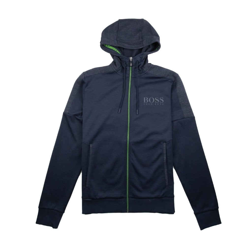 7c2e7d443 Hugo Boss Saggy Zip Up Hoody Navy Blue/Lime Green | ONU