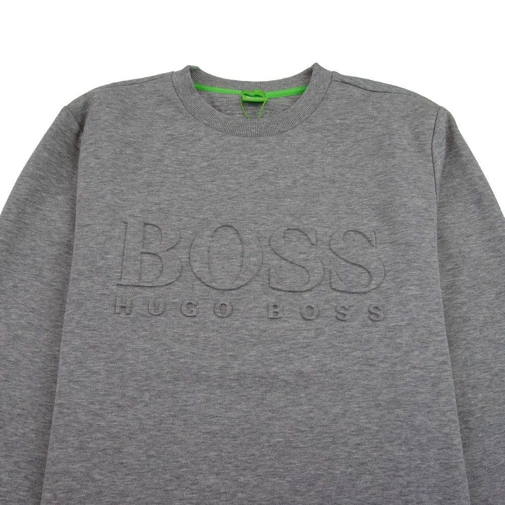 904b4942a0 Hugo Boss Salbo Embossed Logo Crewneck Sweatshirt Grey | ONU