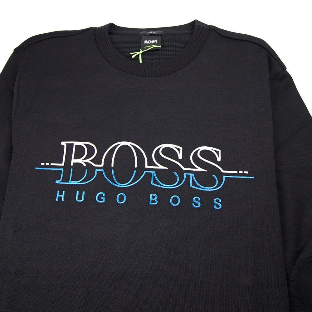 eda601ea1 Hugo Boss Salbo Logo Crewneck Sweatshirt Black | ONU