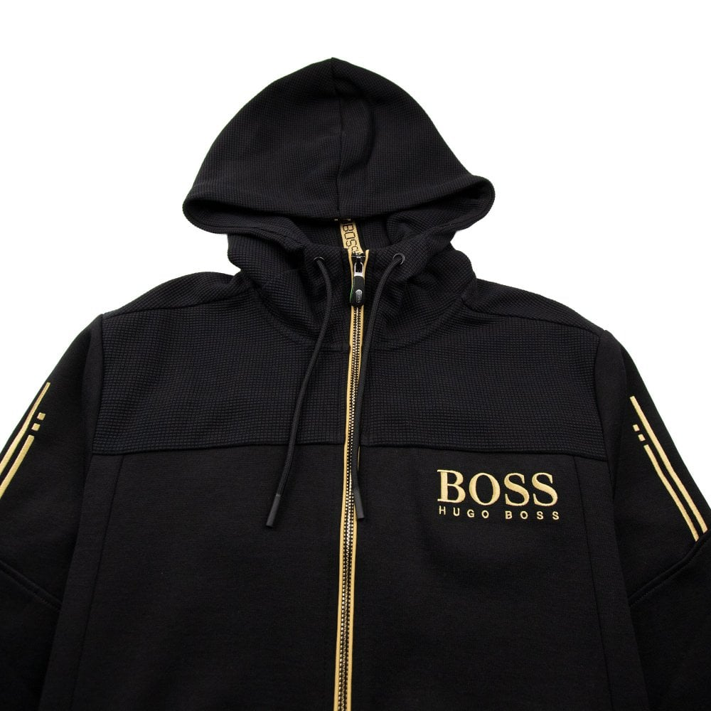 b30a202e Hugo Boss Zip Up Hoody Black/Gold | ONU