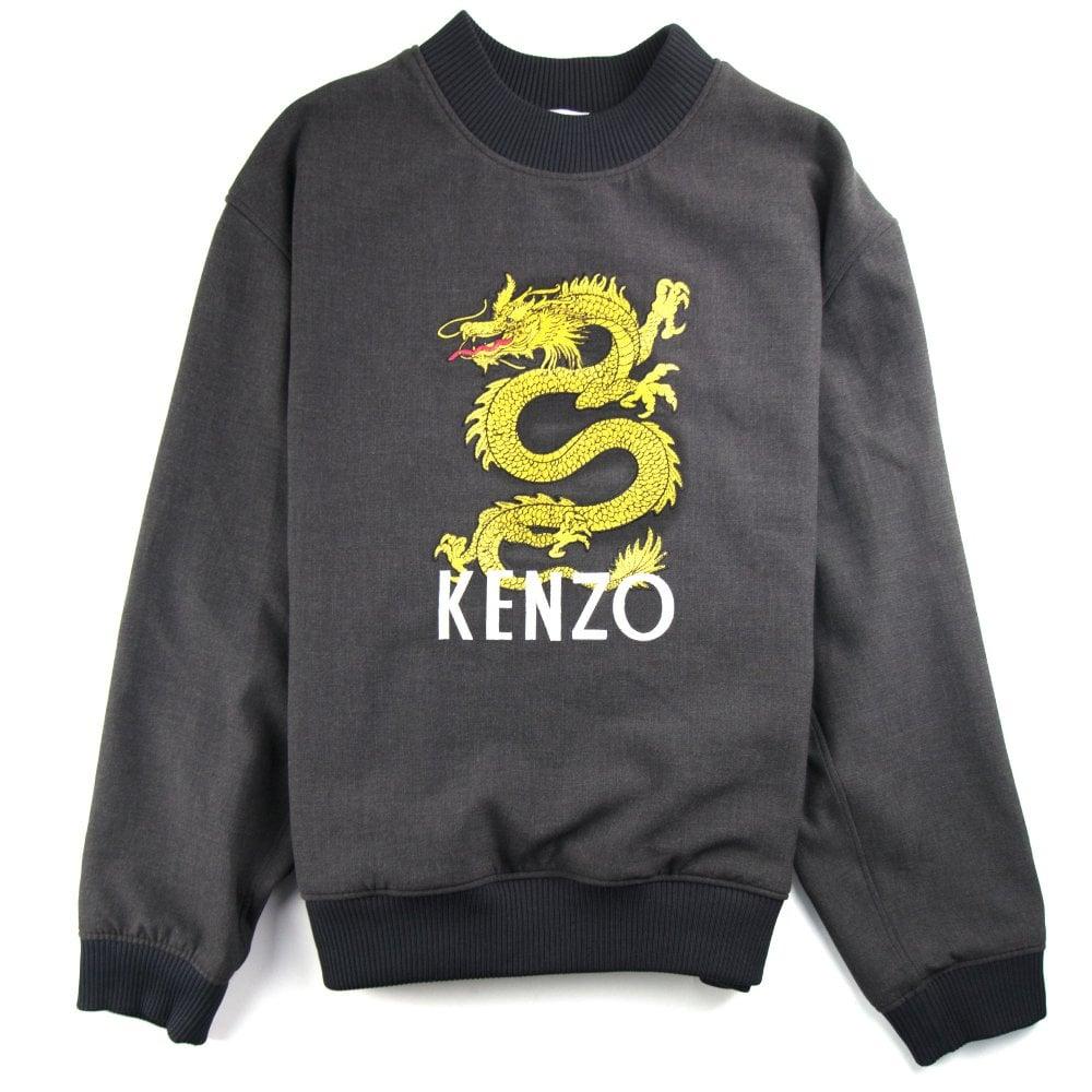c8594082ddfb1 Kenzo Dragon Woven Sweatshirt Dark Grey   ONU