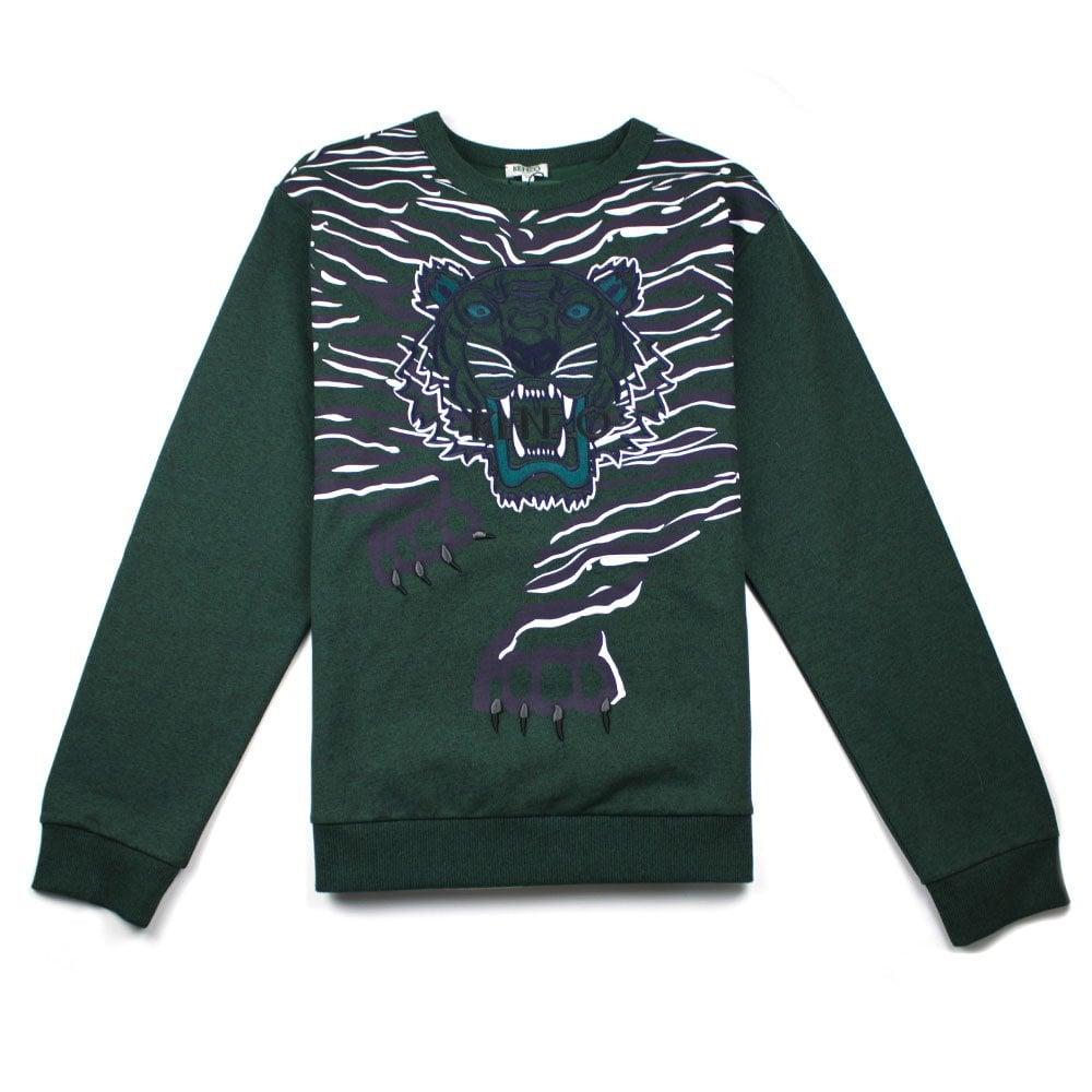 c4be6f4de58 Full Embroidered Tiger Sweatshirt Green