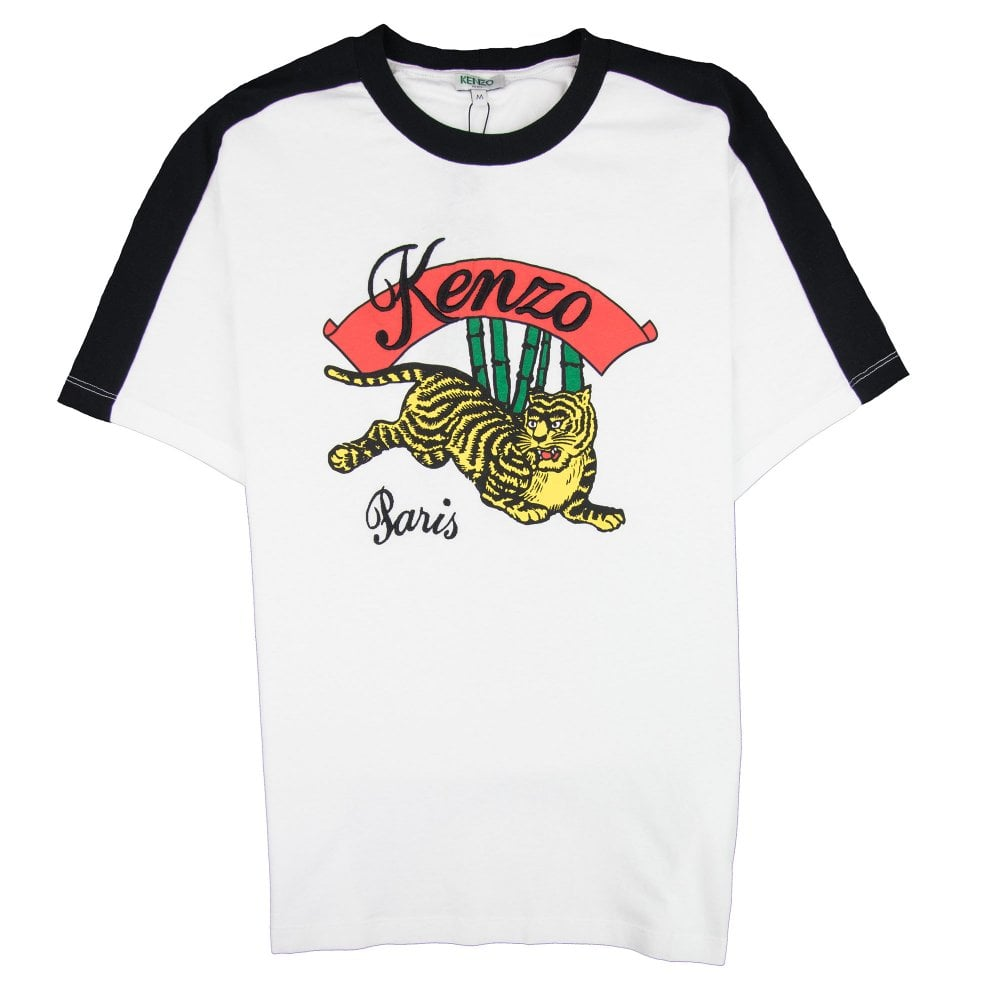 Jumping Tiger Print T-shirt White/black