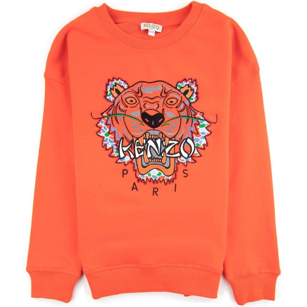 Kenzo Kids Kenzo Kids Scaled Tiger Cotton Sweatshirt Orange