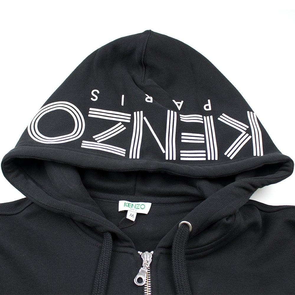 4aa8345b753 Kenzo Zip Up Hood Logo Hoody Black | ONU
