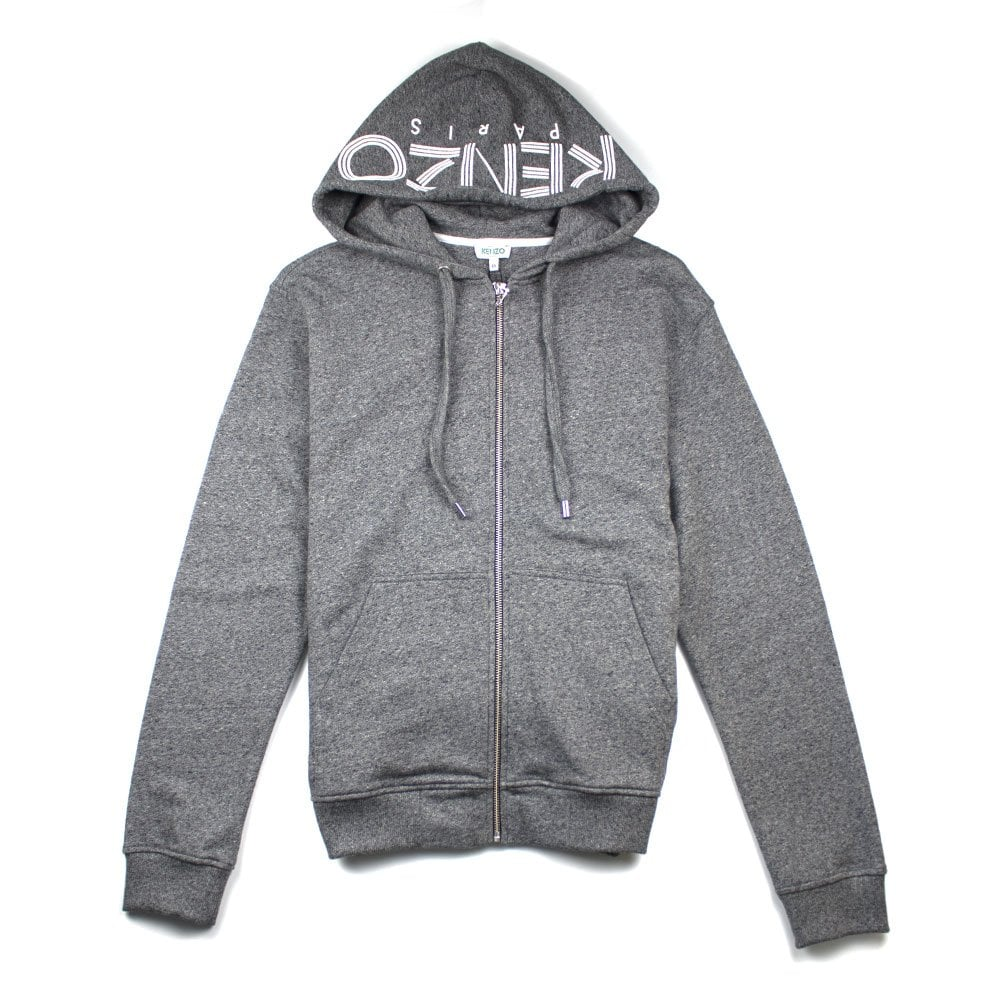 4aa09ec9ed0 Kenzo Zip Up Hood Logo Hoody Grey | ONU