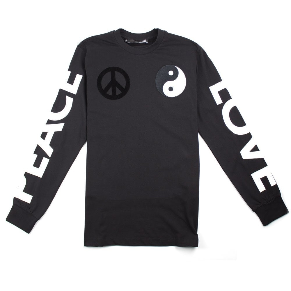 38a82ebc2d5 Love Moschino Black Long Sleeve Peace & Yin Yang T-Shirt | ONU