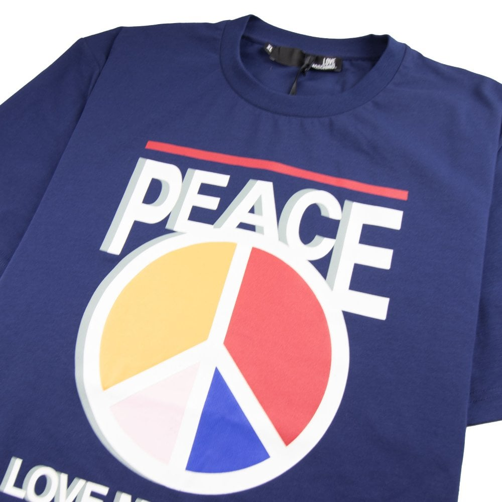 5b277f819f4 Love Moschino Peace Love T-Shirt Blue | ONU