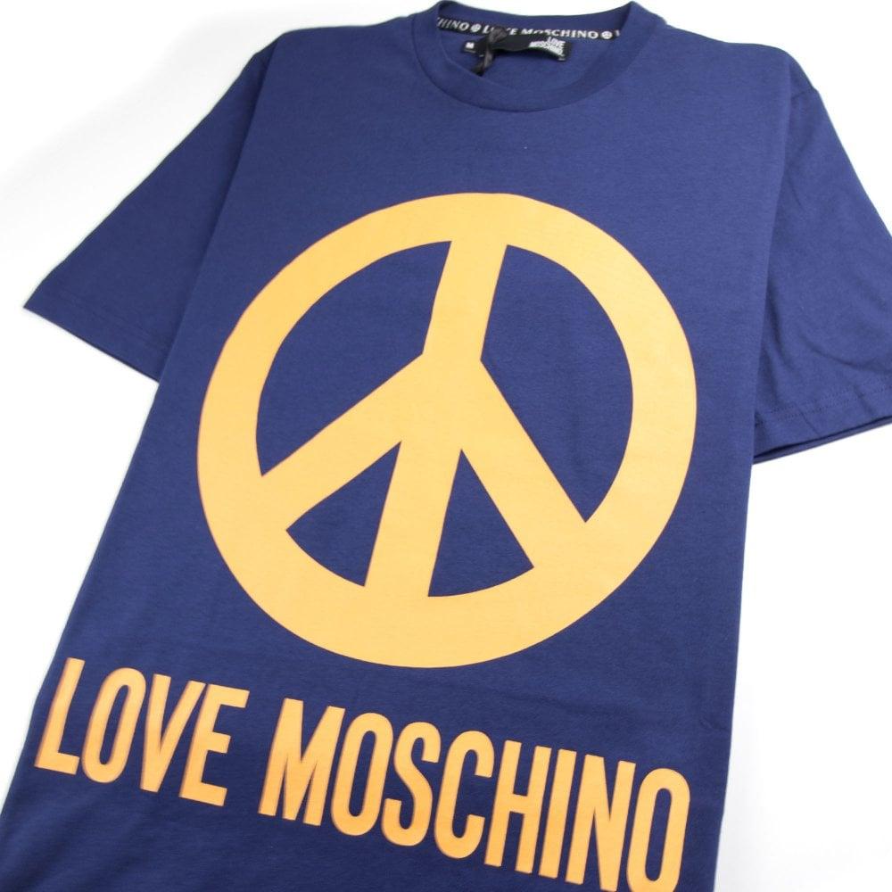 LOVE MOSCHINO LOGO PRINT T-SHIRT GREY YELLOW