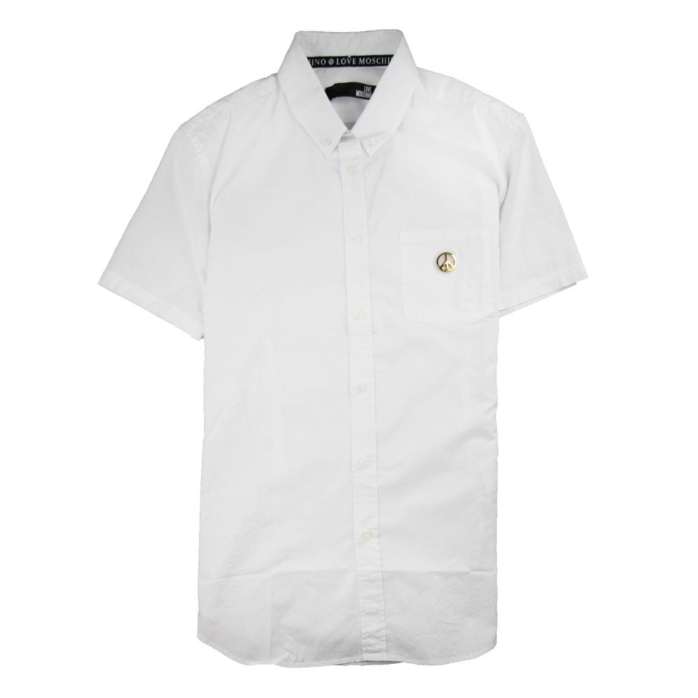 94913f229bfa Love Moschino Short Sleeve Shirt Pocket Badge White | ONU