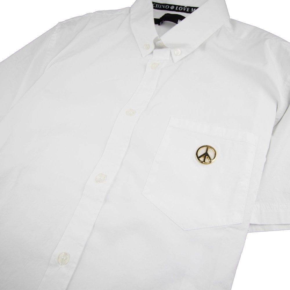 71e98fa461f55 Love Moschino Short Sleeve Shirt Pocket Badge White