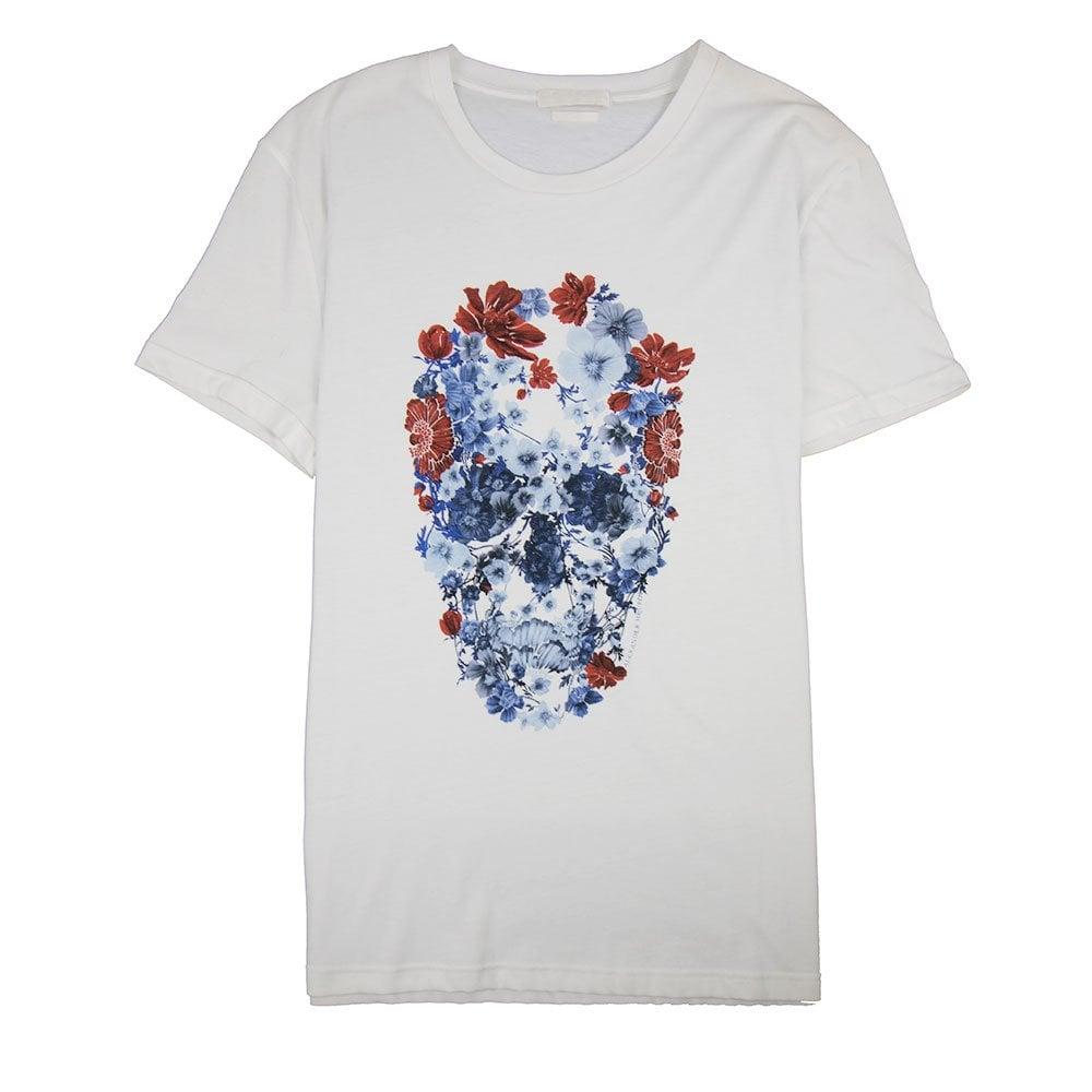 Alexander Mcqueen MCQ Flower Skull T-Shirt Grey