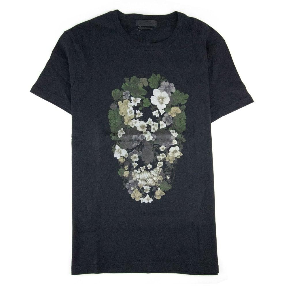 Mcq By Alexander Mcqueen Mcq Flower Skull T-shirt Black SA30