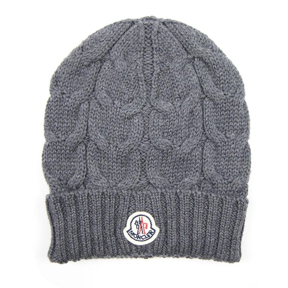 Moncler Cable Knit Beanie Hat Grey  2d5ad6740d5