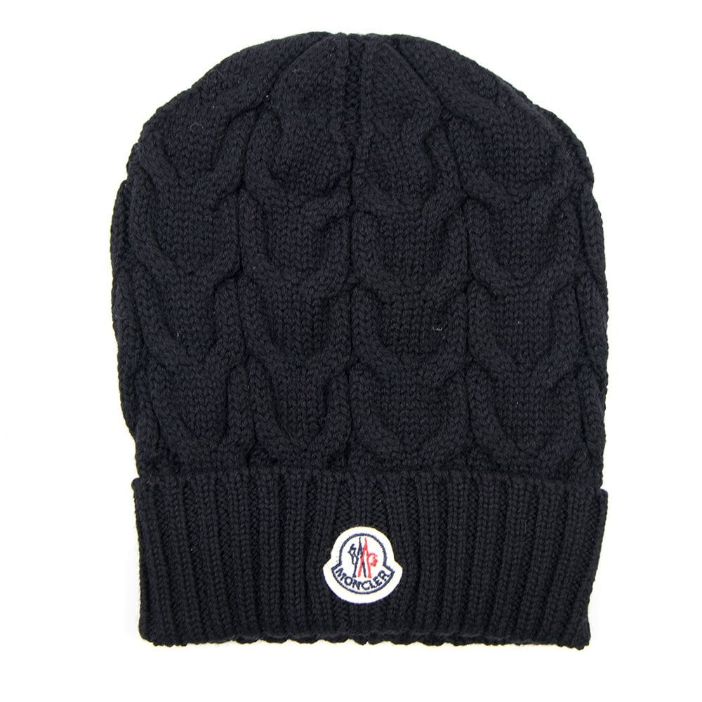 Moncler Cable Knit Beanie Hat Navy Blue  ef8ff34b955