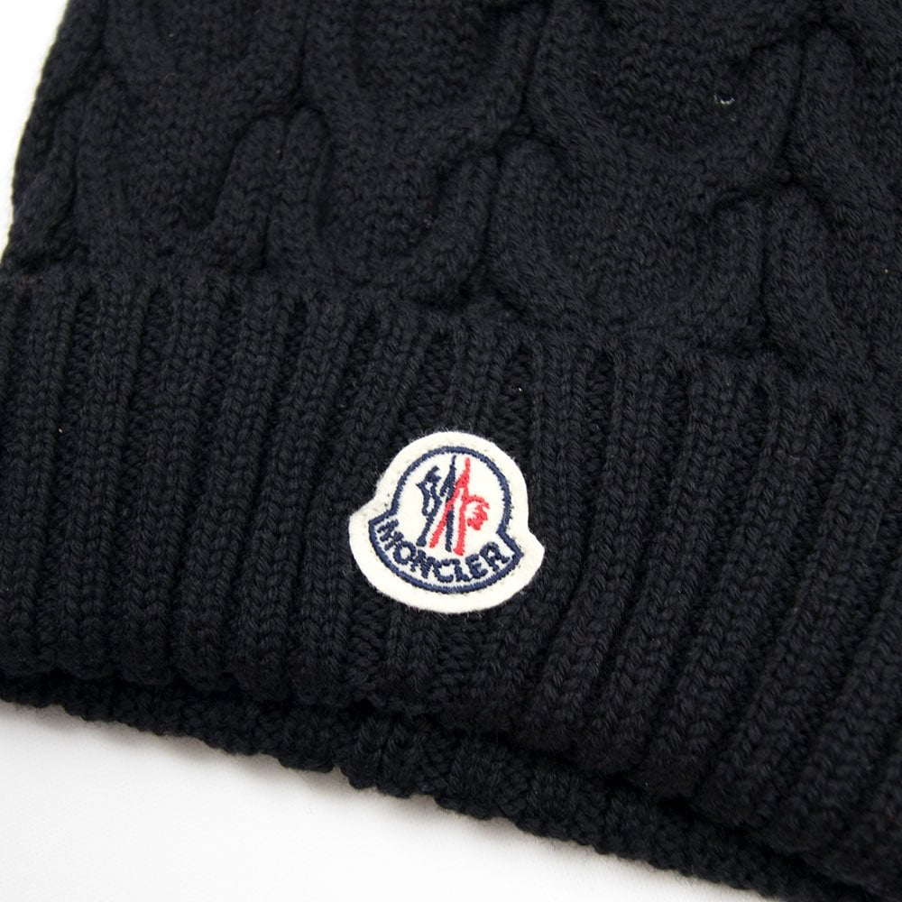 Moncler Cable Knit Beanie Hat Navy Blue  2b4d6faa5d5