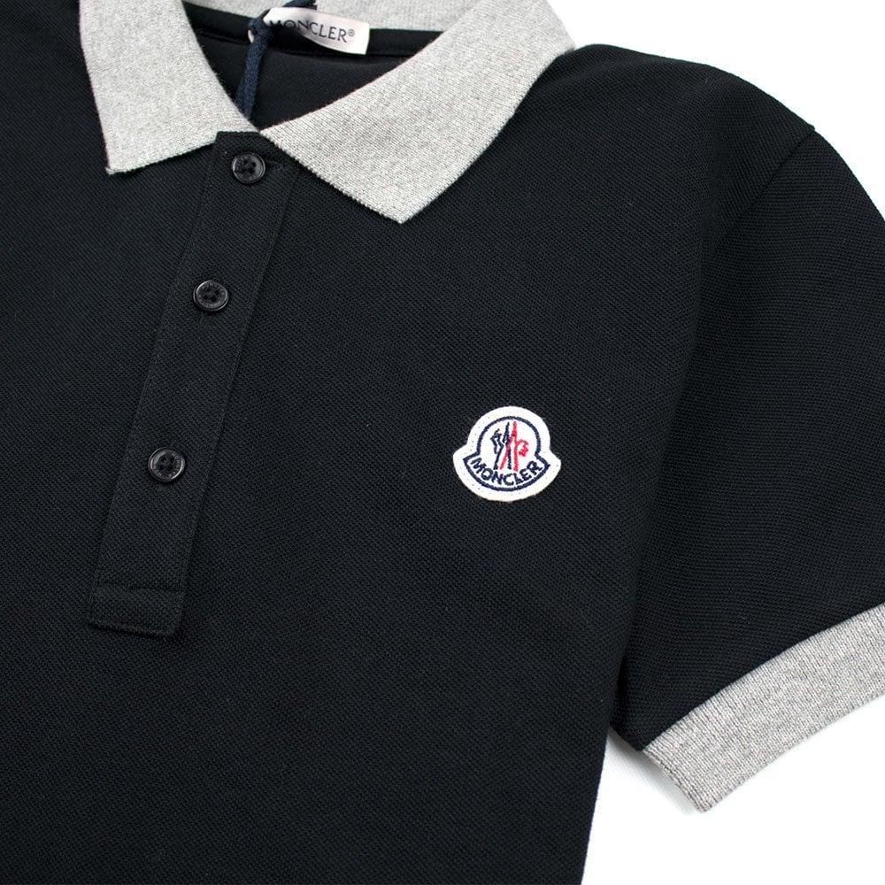 9099d3da5 Contrast Collar Short Sleeve Polo Shirt Black/Grey