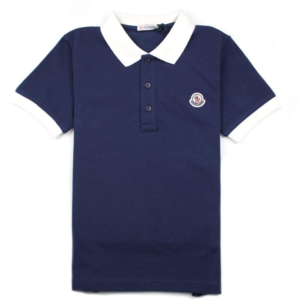 e2f277e5bcfe Moncler Junior Contrast Collar Short Sleeve Polo Shirt Blue White