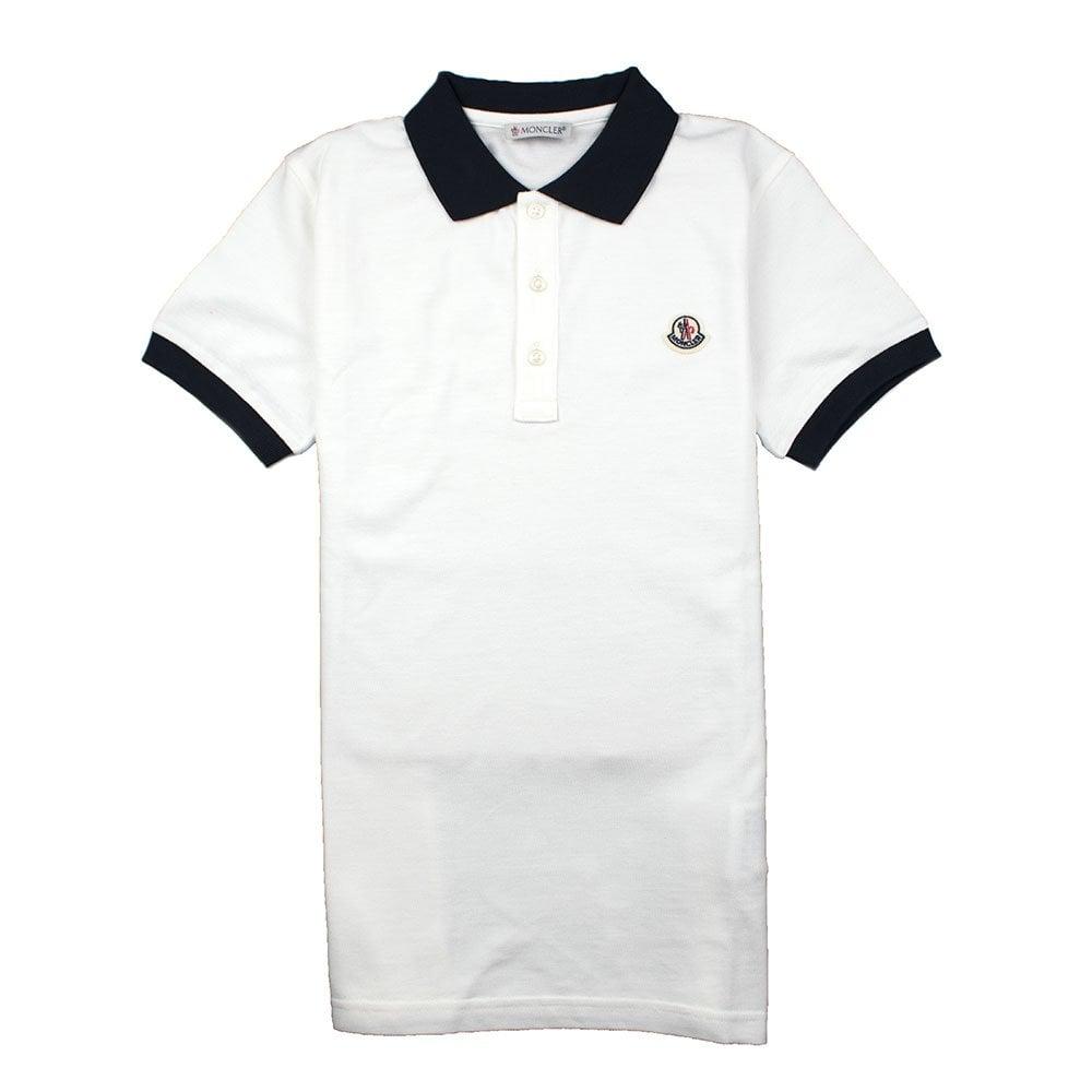 a2038fed70fe Moncler Junior Contrast Collar Short Sleeve Polo Shirt White Navy