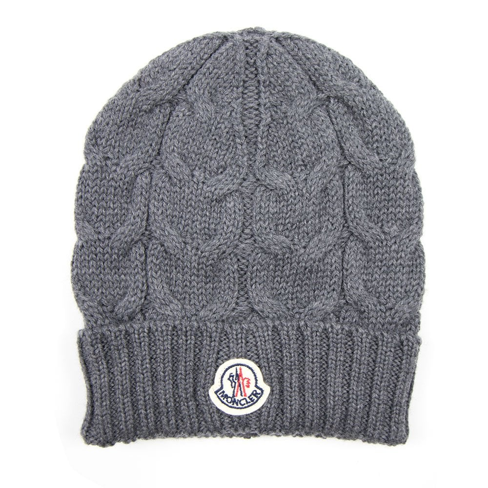 ad9ba454f Moncler Cable Knit Beanie Hat Grey