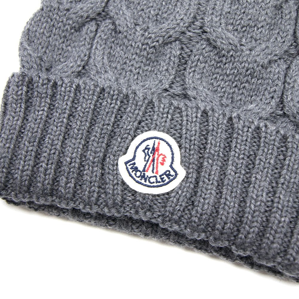 062bd1a95748bd Moncler Cable Knit Beanie Hat Grey | ONU