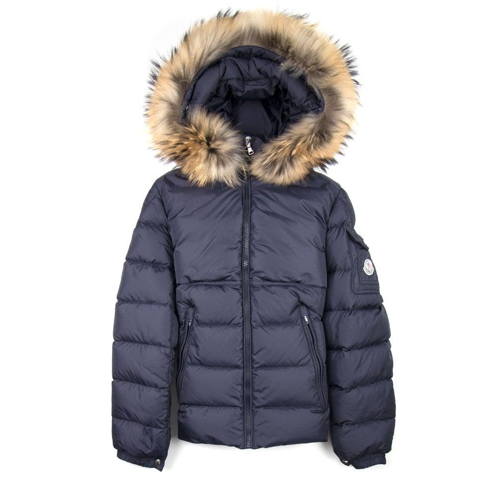 b79b24a9e Moncler Fur Byron Jacket Navy Blue