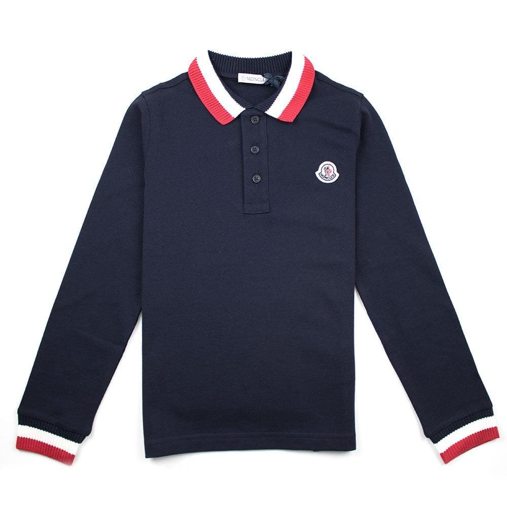58249ee95dd2 Moncler Junior Tri Collar Long Sleeve Polo Shirt Navy