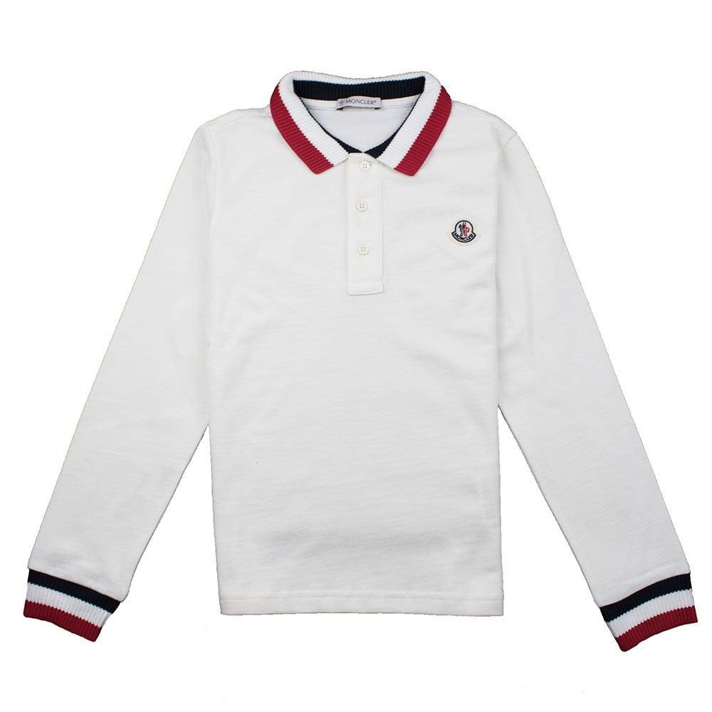 748a651821e1 Moncler Junior Tri Collar Long Sleeve Polo Shirt White