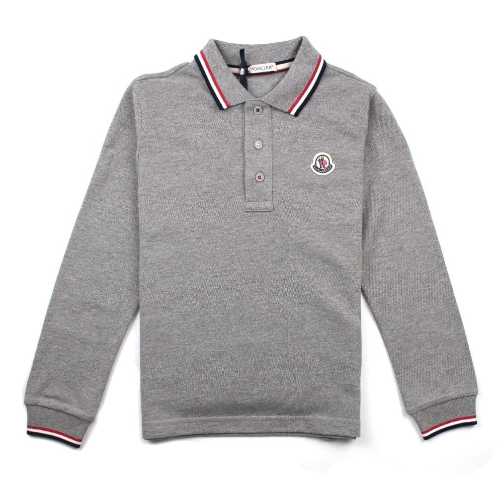 ed35630fe Tri Colour Tipped Long Sleeve Polo Grey