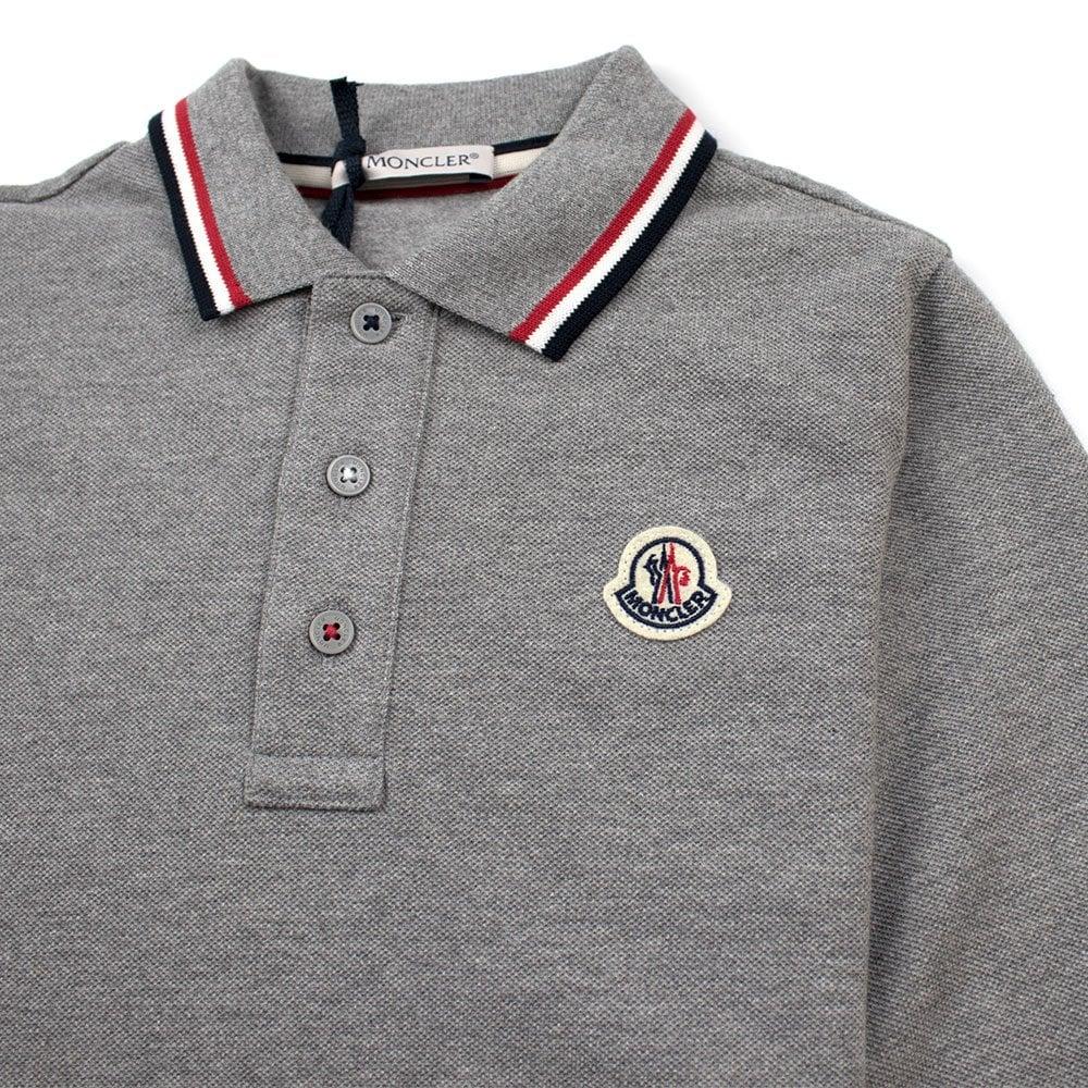 418124e34688 Moncler Junior Tri Colour Tipped Long Sleeve Polo Grey