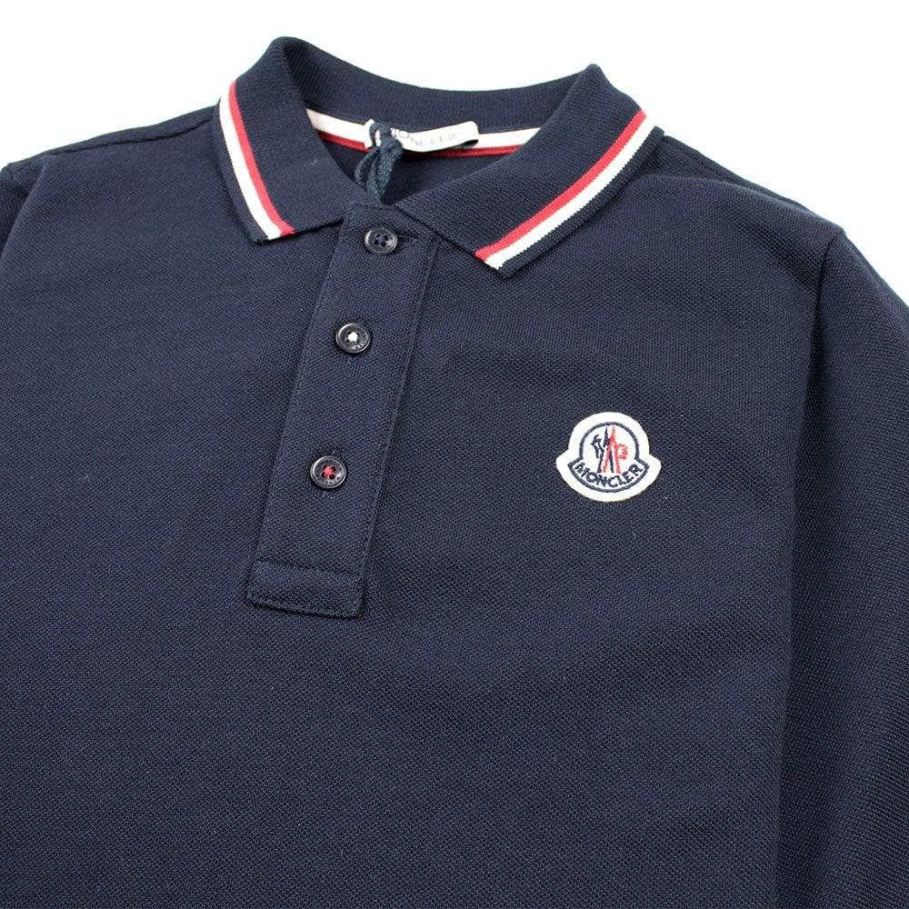 d011b4ee3 Tri Colour Tipped Long Sleeve Polo Navy